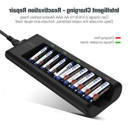 EBL 10-Bay Alkaline Battery Charger for Disposable AA AAA Al