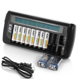 EBL 12-Bay LCD Rapid Charger For AA AAA 9V NiMH NiCD Multi R