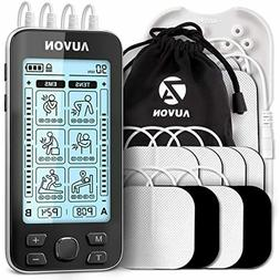 AUVON 4 Outputs TENS Unit EMS Muscle Stimulator Machine for