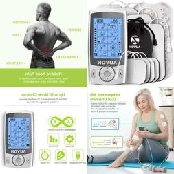 Auvon Dual Channel Tens Unit Muscle Stimulator Machine With